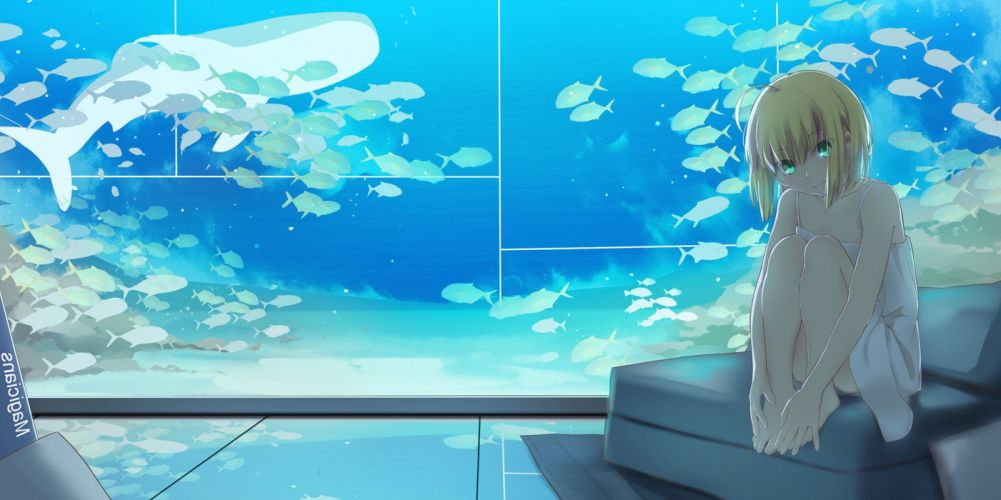 animal blonde hair fate stay night fish green eyes magicians saber lily signed water wallpaper