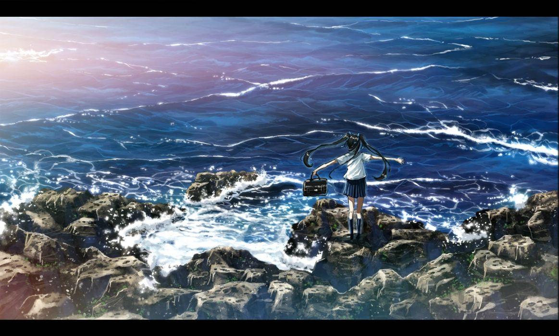 black hair bokuden kneehighs long hair original scenic seifuku twintails water wallpaper