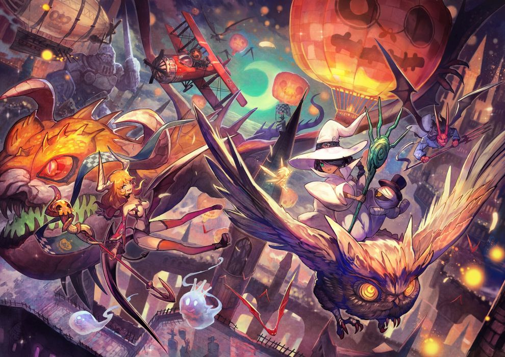aircraft animal bandage bat bird city demon group halloween hat horns lack moon original owl sky spear staff thighhighs weapon wings witch hat wallpaper