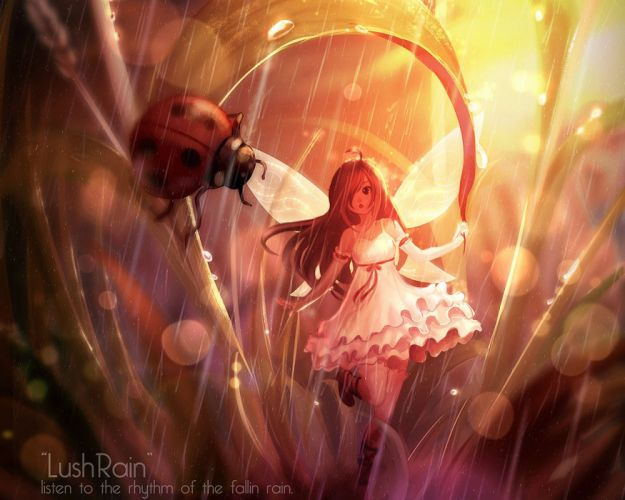 animal dress elbow gloves fairy grass leaves original rain thighhighs un s water watermark wings wallpaper