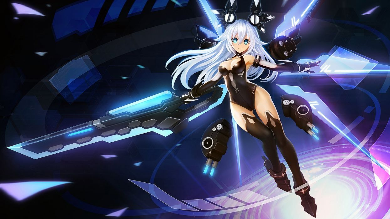 aqua eyes black heart breasts cleavage hanshu hyperdimension neptunia leotard long hair mechagirl noire white hair wallpaper