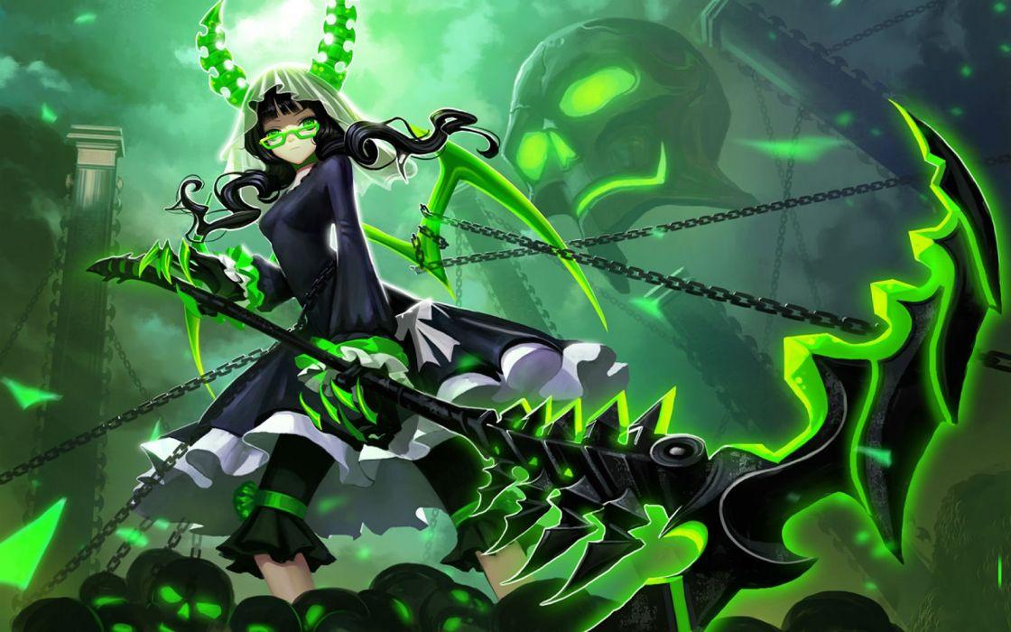 black rock shooter chain glasses green horns liang xing skull takanashi yomi weapon wings wallpaper
