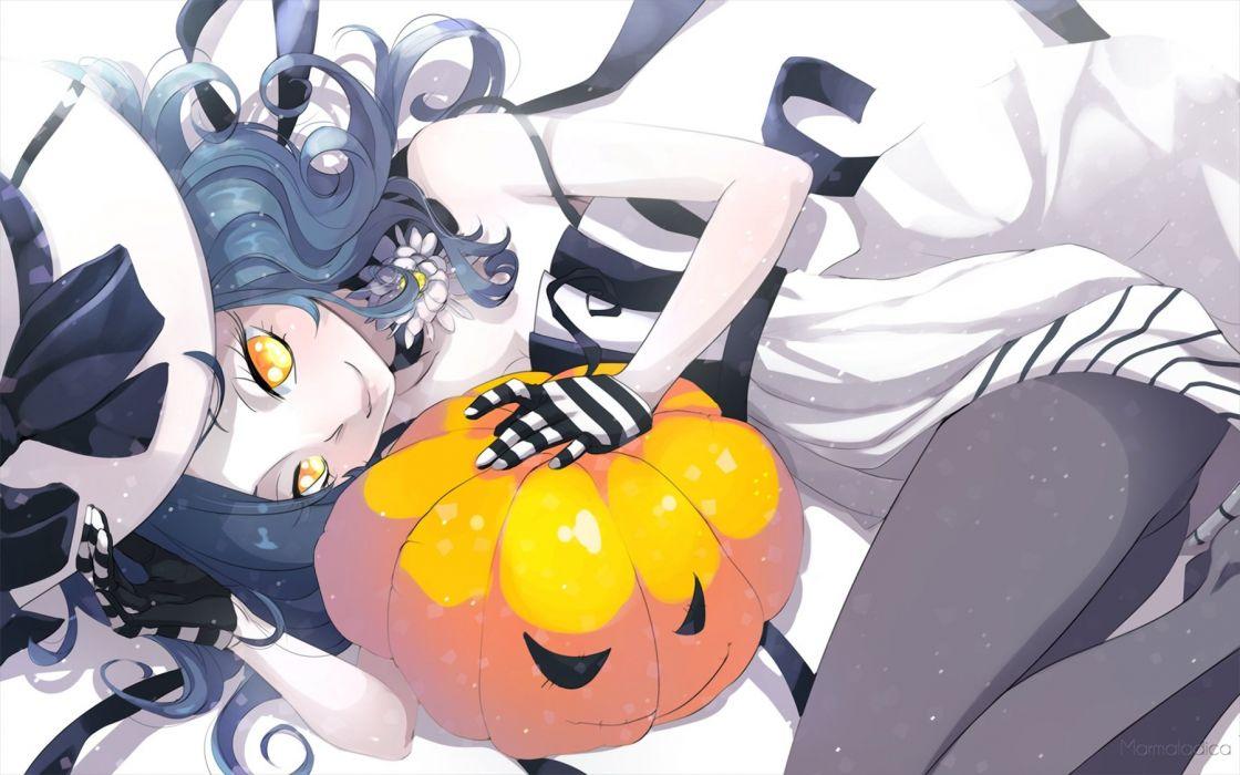 blue hair gloves halloween hat marmalade (elfless vanilla) original pantyhose pumpkin witch hat yellow eyes wallpaper