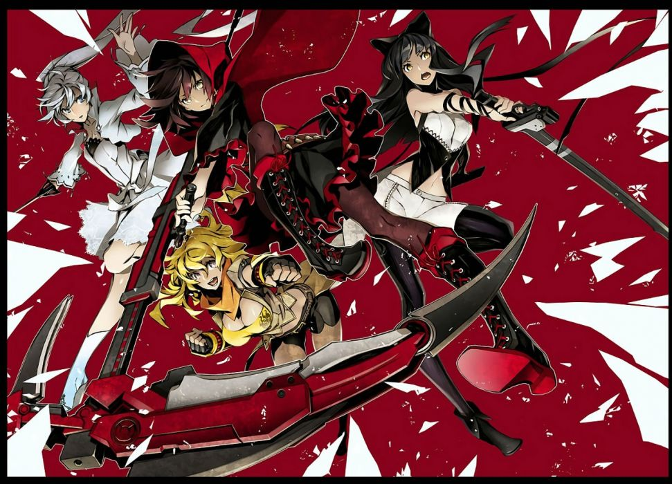 boots breasts cape cleavage gloves group hoodie miwa shirow navel ponytail ruby rose rwby scythe sword weapon weiss schnee yang xiao long wallpaper