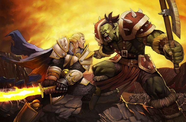 WARCRAFT Beginning fantasy action fighting warrior adventure world 1wcraft knight armor orgre monster creature wallpaper