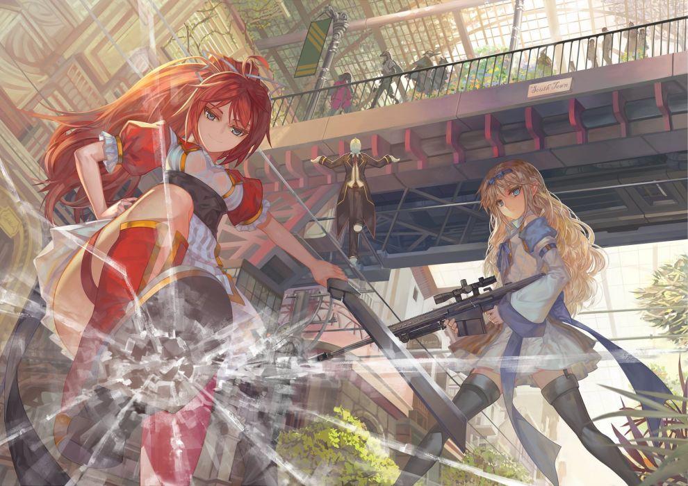 girls blonde hair building gun original paku red hair sword thighhighs weapon wallpaper