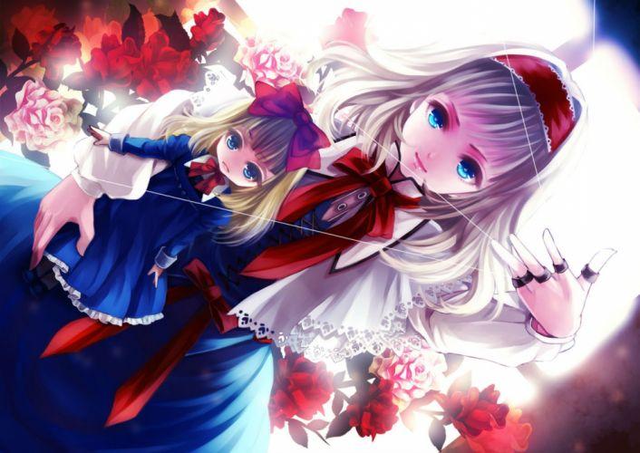 alice margatroid aqua eyes awa toka blonde hair blue eyes bow doll dress flowers headdress long hair mage ribbons rose shanghai doll touhou wallpaper