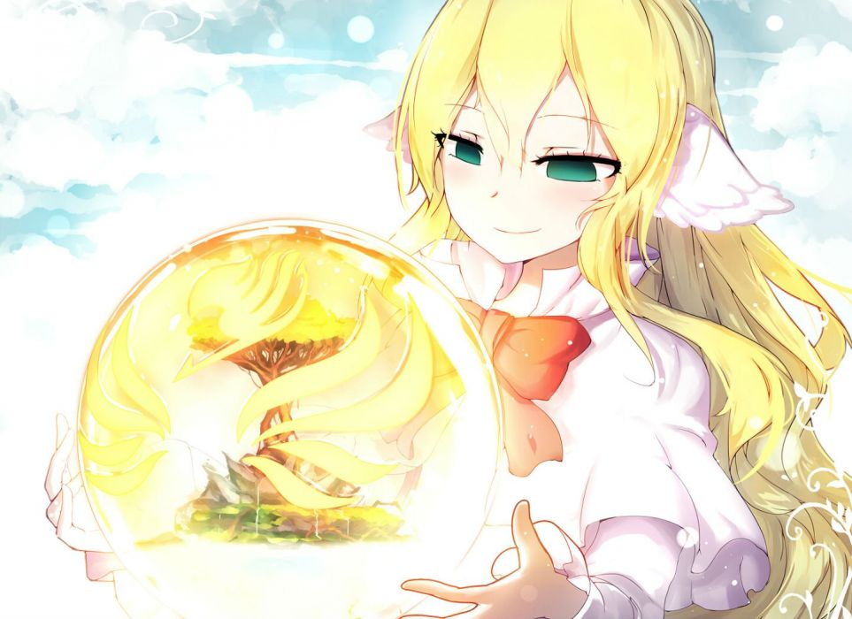 animal ears bai yemeng blonde hair bow fairy tail green eyes long hair mavis vermillion wallpaper