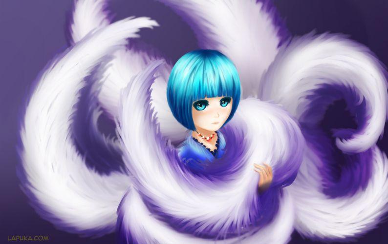 aqua eyes aqua hair foxgirl lapuka multiple tails necklace short hair tail wallpaper