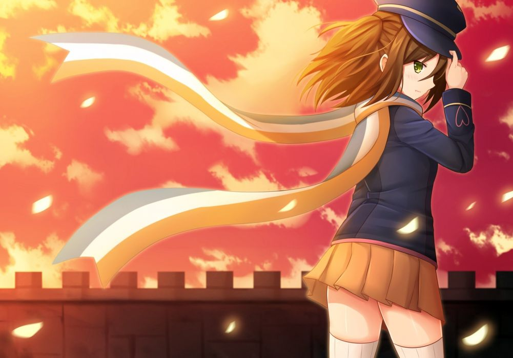 brown hair green eyes hat kazenokaze nikaidou mari scarf seifuku skirt sunset tai-madou gakuen 35 shiken shoutai thighhighs zettai ryouiki wallpaper