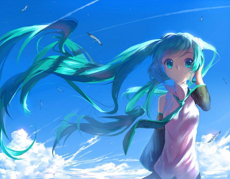 animal aqua eyes aqua hair bird clouds hatsune miku long hair sky tie vocaloid yuket wallpaper