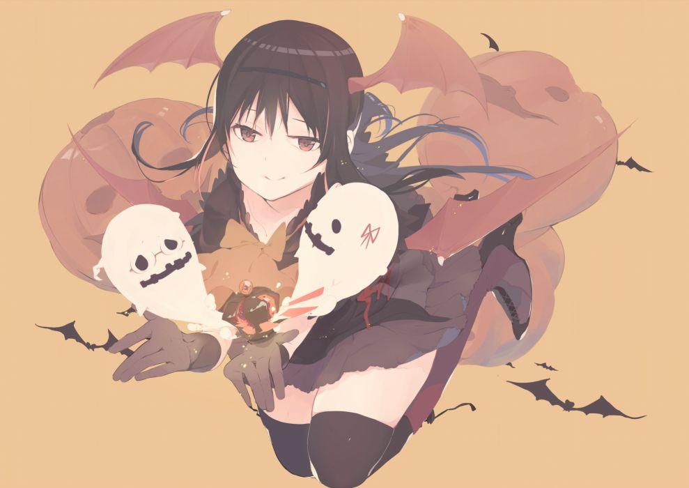 akemi homura animal bat halloween kokoro6636 mahou shoujo madoka magica mahou shoujo madoka magica movie red eyes thighhighs wings wallpaper