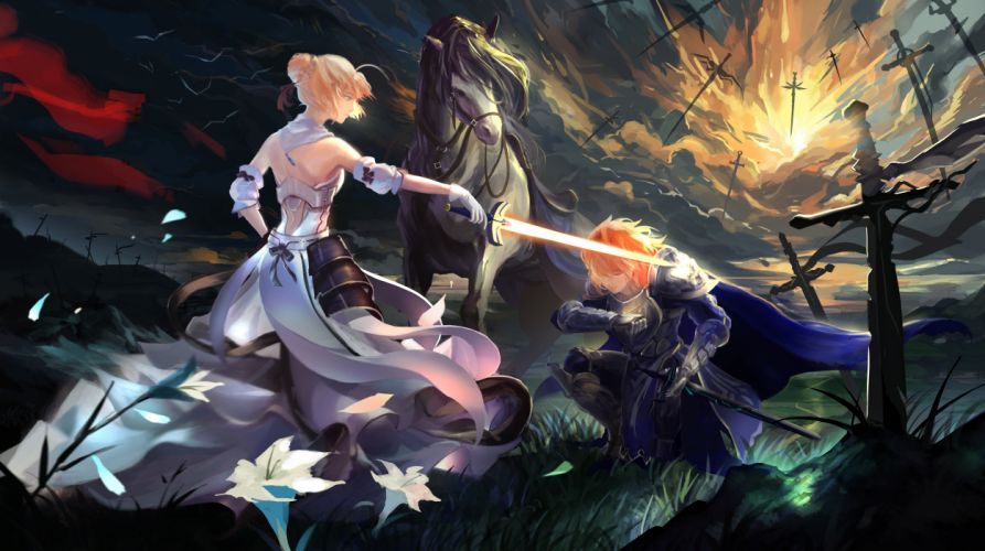 animal armor bird cape clouds dark dress fate stay night flowers gloves grass horse ice (805482263) male saber short hair sky sunset sword weapon wallpaper