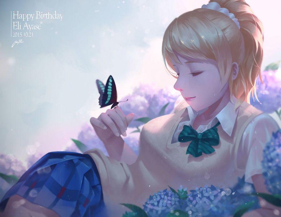 ayase eri blonde hair bow butterfly flowers love live! school idol project ponytail regition seifuku skirt wallpaper