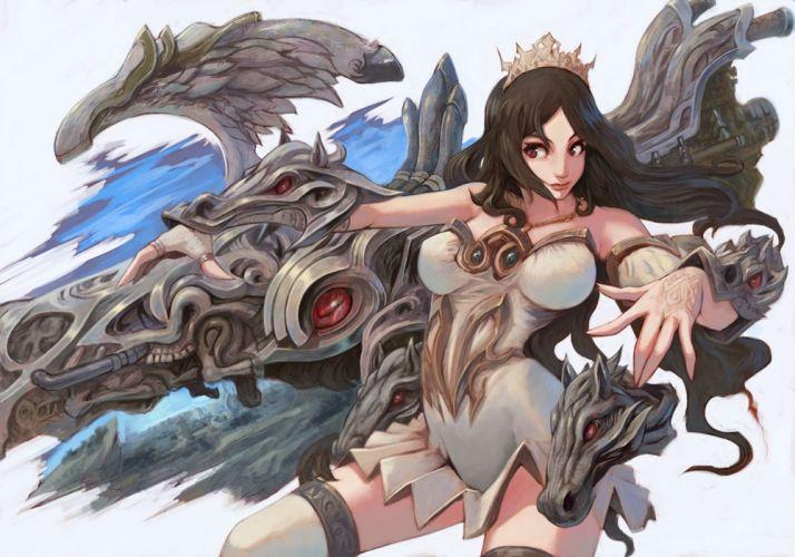 black hair crown dragon red eyes wallpaper