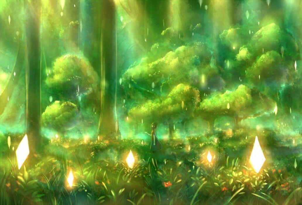 bou nin flowers forest grass green original tree wallpaper