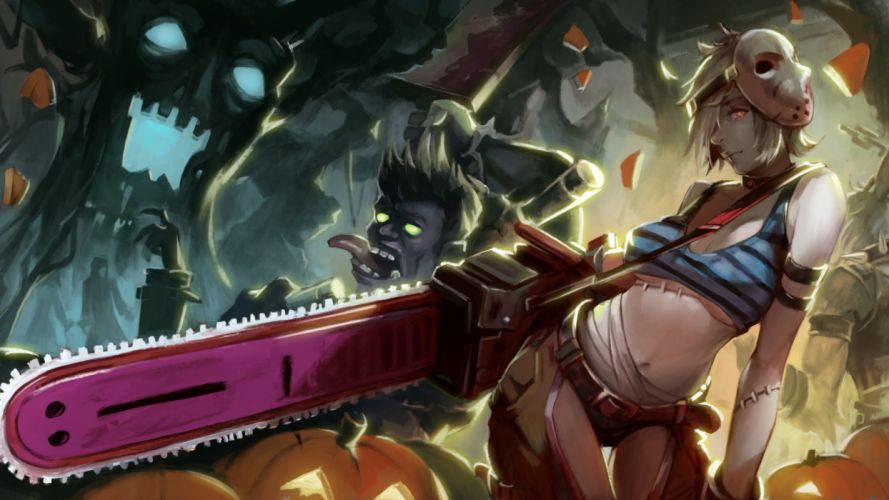 breasts chainsaw cleavage halloween iorlvm league of legends mask navel riven (league of legends) short hair wallpaper