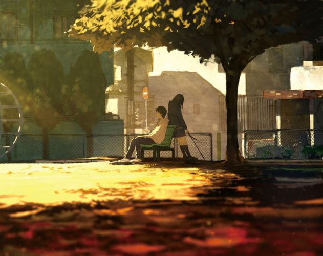 building cropped loundraw male original park scenic seifuku shade tree wallpaper