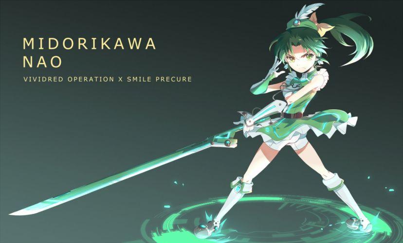 crossover midorikawa nao precure smile precure! vividred operation wallpaper