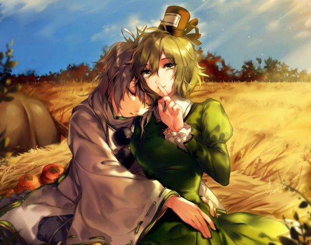 girls autumn dress gray hair green eyes green hair hat hug hug (yourhug) japanese clothes mononobe no futo short hair sleeping soga no tojiko touhou wallpaper