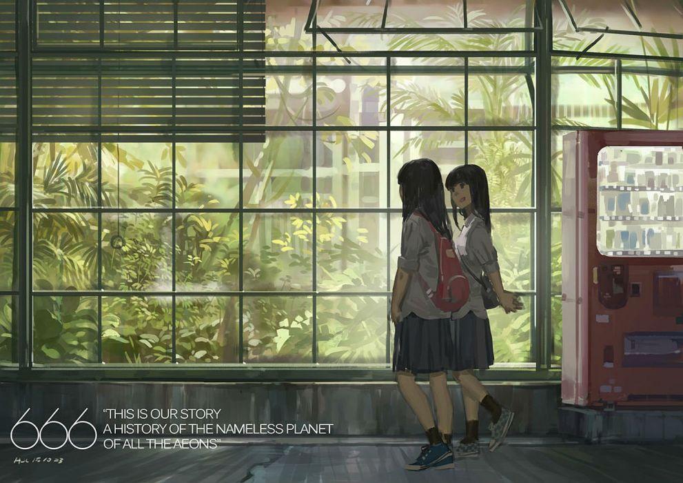 girls black hair hjl leaves long hair original seifuku shade wallpaper