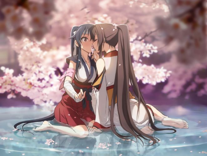 girls bandage barefoot black hair brown eyes brown hair cherry blossoms headband kisetsu kiss long hair miko petals ponytail shoujo ai water wallpaper
