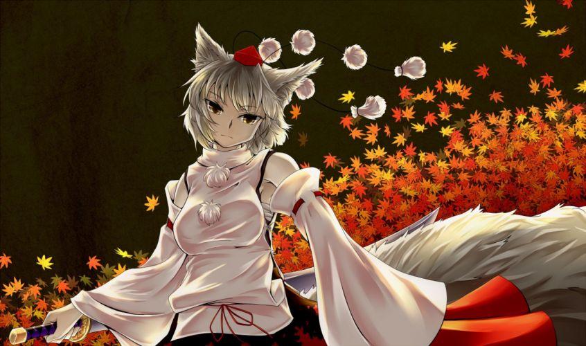 animal ears autumn headdress inubashiri momiji japanese clothes katana leaves miko sword tail touhou weapon white hair wolfgirl yellow eyes yrjxp065 wallpaper