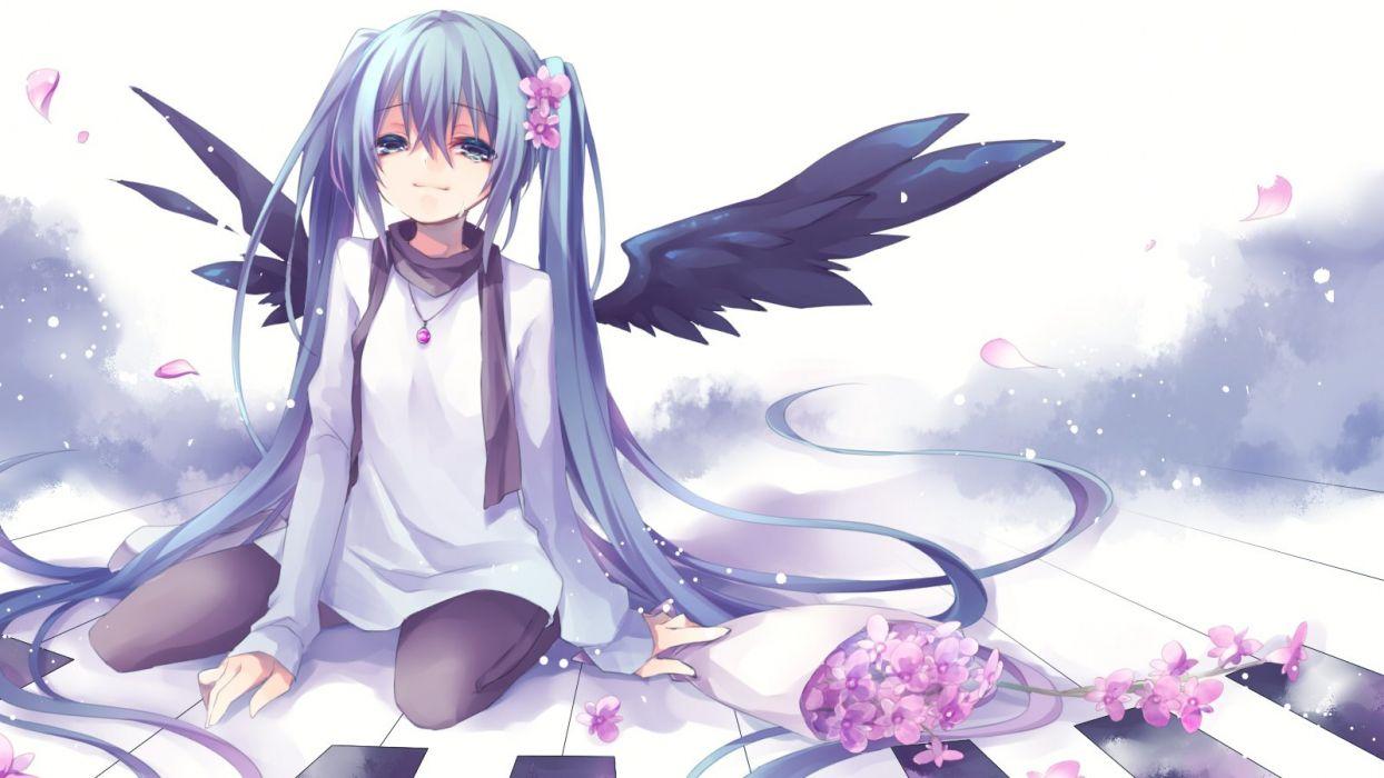 aqua eyes aqua hair flowers hatsune miku instrument kuroi (liar-player) long hair necklace pantyhose petals piano tears twintails vocaloid wings wallpaper
