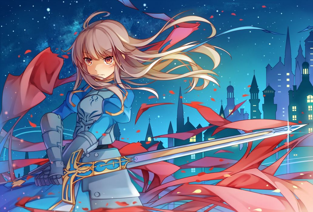 armor dress fate stay night fate zero koxo-01 long hair saber sword weapon wallpaper