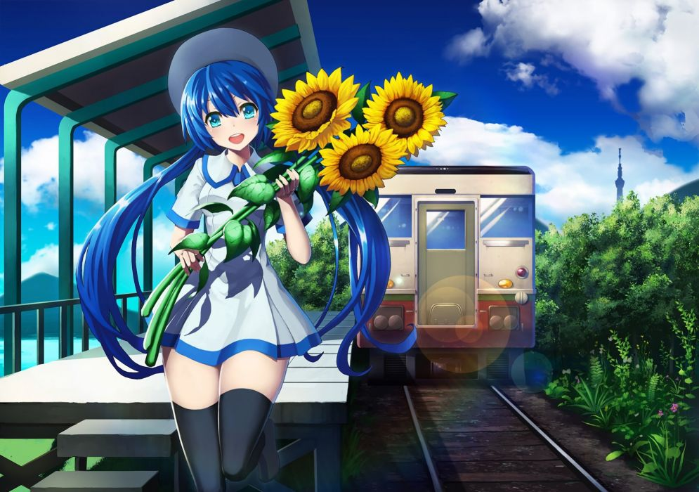 clouds defiaz (infinity) dress flowers hat hatsune miku leaves long hair sunflower thighhighs train twintails vocaloid zettai ryouiki wallpaper