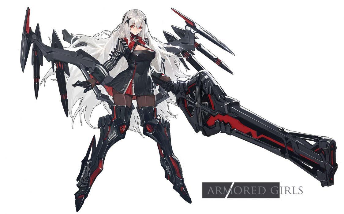 kishiyo long hair mechagirl original pantyhose red eyes weapon white white hair wallpaper