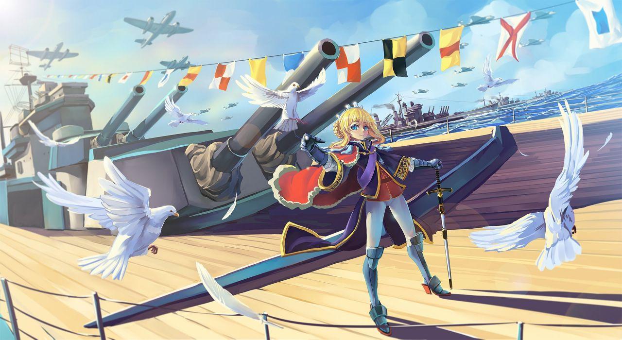 aircraft animal armor bird blonde hair blue eyes boat original sima naoteng sword weapon wallpaper