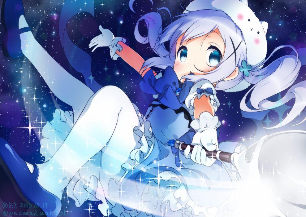 blue eyes bow dress gloves gochuumon wa usagi desu ka- kafuu chino neki (wakiko) pantyhose signed space stars wand wallpaper