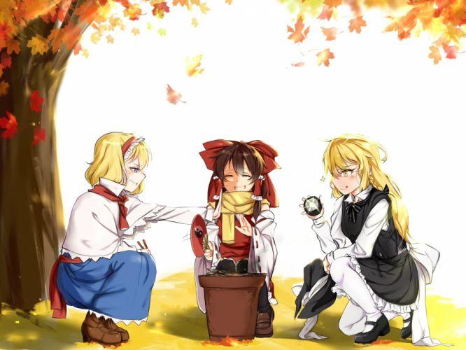 alice margatroid autumn fan food hakurei reimu japanese clothes kirisame marisa miko pantyhose tendo (zhazhatiantong) touhou witch wallpaper
