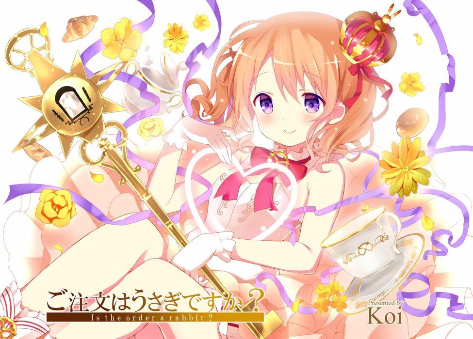 gochuumon wa usagi desu ka- hoto kokoa koi orange hair purple eyes wallpaper