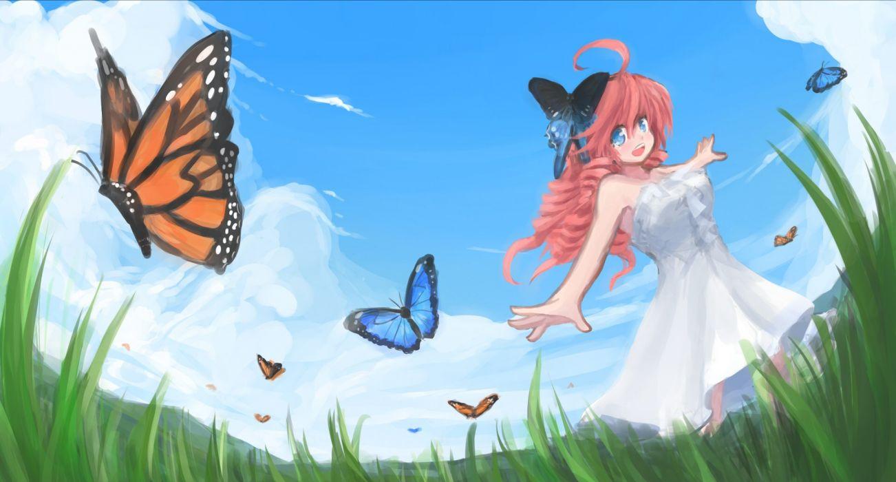 arceon blue eyes butterfly dress grass original pink hair sky wallpaper
