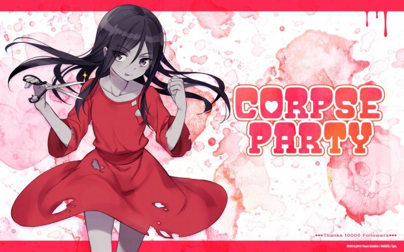black eyes black hair corpse party dress long hair shinozaki sachiko tagme (artist) torn clothes wallpaper
