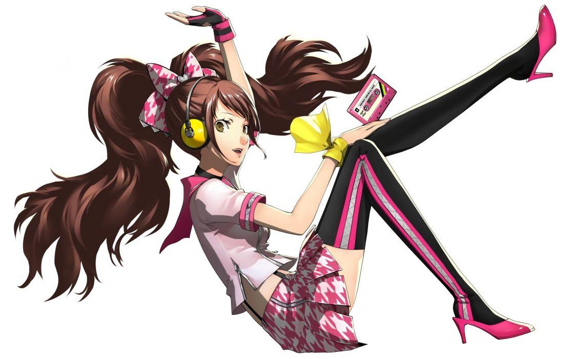 brown hair headphones kujikawa rise long hair persona persona 4 soejima shigenori thighhighs twintails white wallpaper