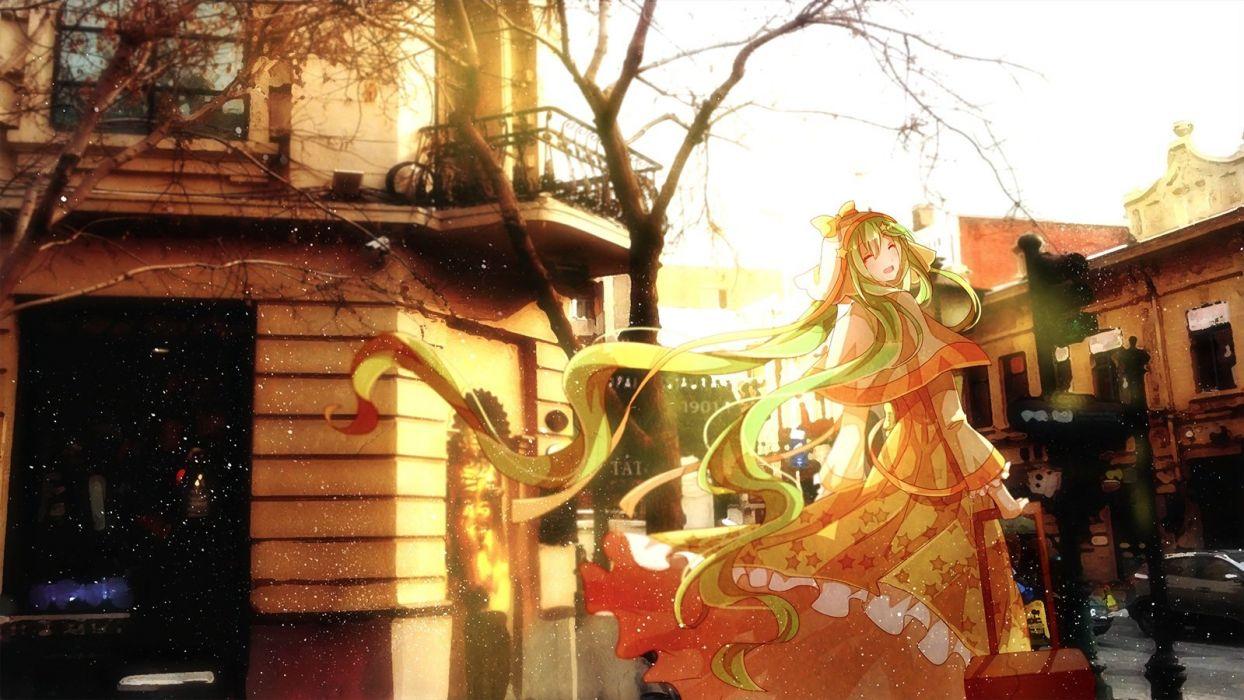 building dress hatsune miku long hair photo tree vocaloid winter yasato wallpaper