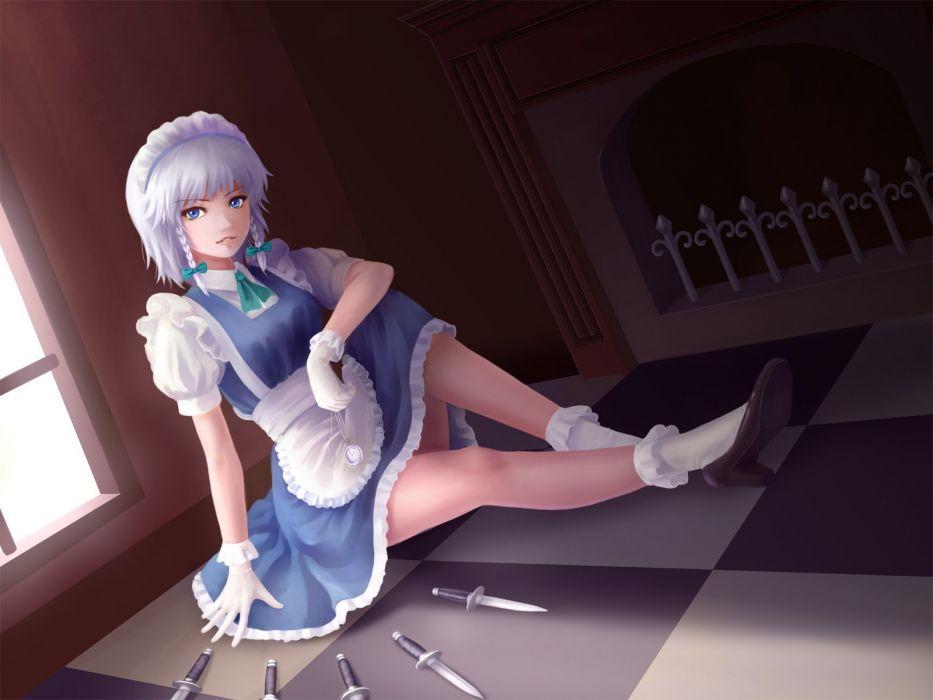 apron blue eyes braids dress gloves izayoi sakuya jackiexp knife maid socks touhou white hair wallpaper