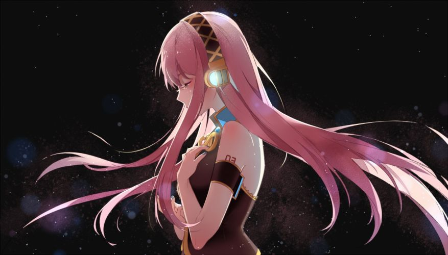 black headphones long hair megurine luka pink hair satonishi vocaloid wallpaper