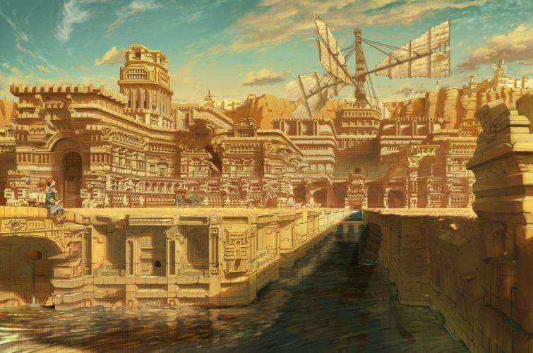 animal building city clouds inoki original ruins scenic water wallpaper