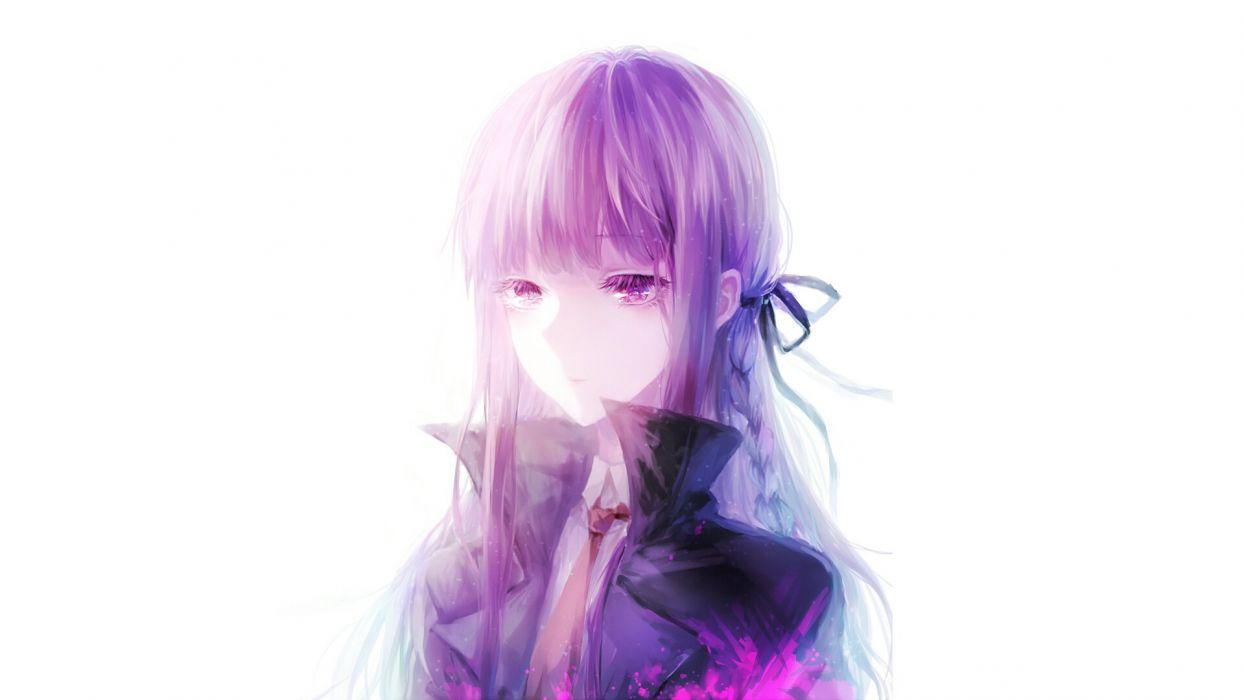 braids coaurora dangan-ronpa kirigiri kyouko purple eyes purple hair tie white wallpaper