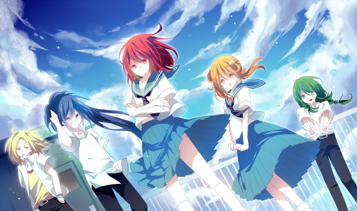 blonde hair blue eyes blue hair clouds green eyes green hair group kneehighs male orange eyes original red eyes red hair seifuku skirt sky smoking wallpaper
