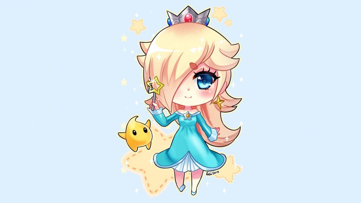 blonde hair blue blue eyes chibi crown dress felicia-val luma rosalina signed stars super mario wand wallpaper