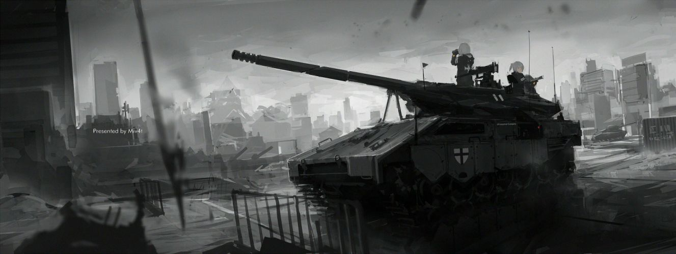 girls city combat vehicle military mivit monochrome original ruins wallpaper