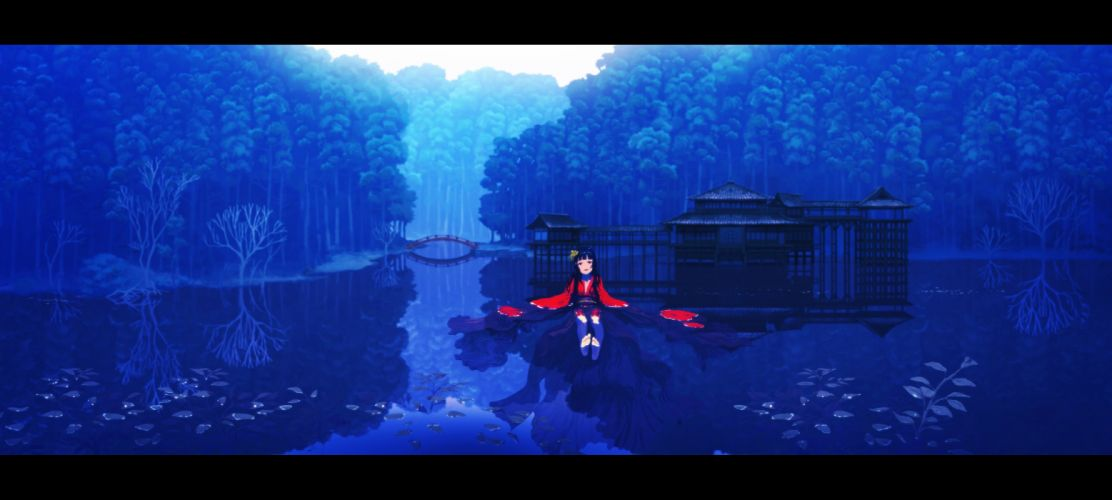 barefoot building forest japanese clothes long hair original rias-coast scenic tree water wet wallpaper