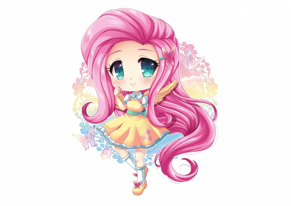anthropomorphism chibi felicia-val fluttershy my little pony my little pony- friendship is magic wallpaper