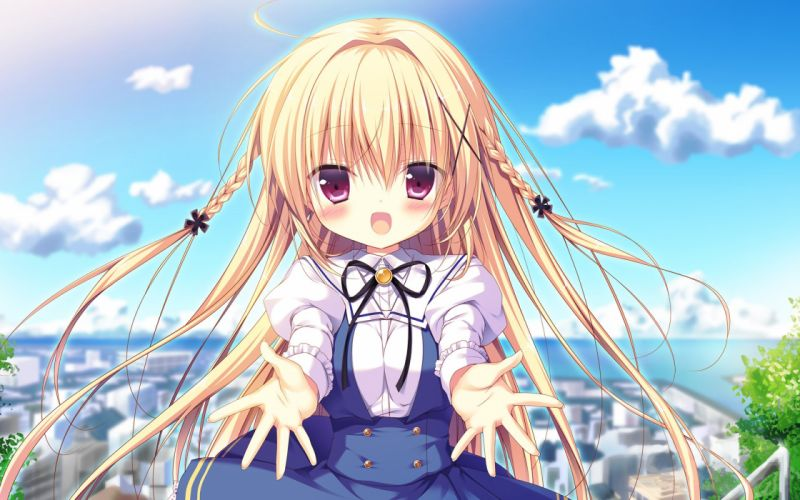 blonde hair blush braids city clouds long hair miyasaka miyu photoshop pink eyes ribbons seifuku sky sorakoi sora (sorakoi) wallpaper