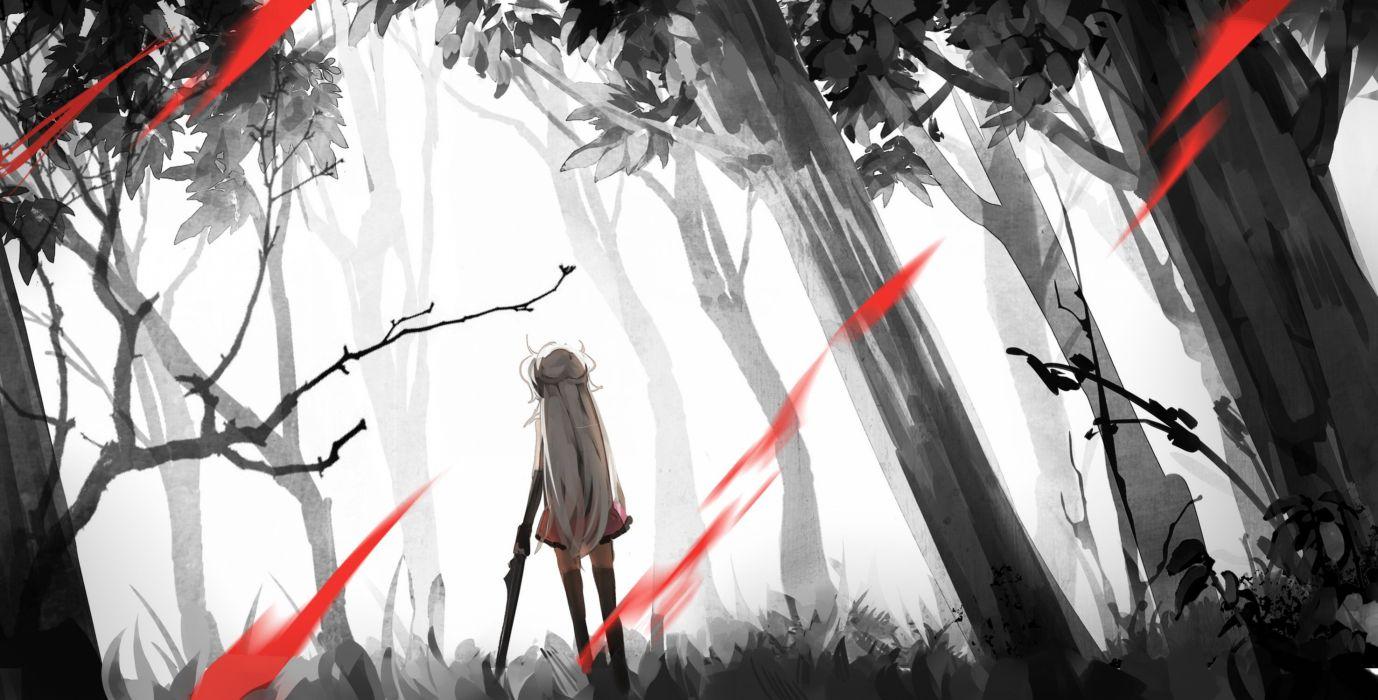 forest hiko (hikosama) long hair pixiv fantasia polychromatic thighhighs tree weapon wallpaper